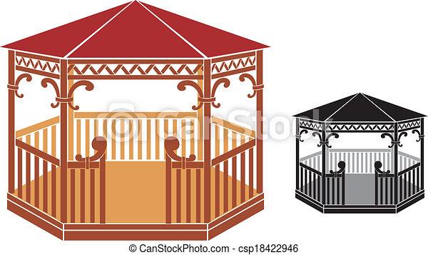 wooden gazebo - csp18422946