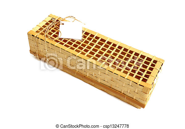 Wooden gift box for wine on white background - csp13247778