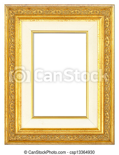 Wooden gilt picture frame with passe-partout. An old picture frame ...