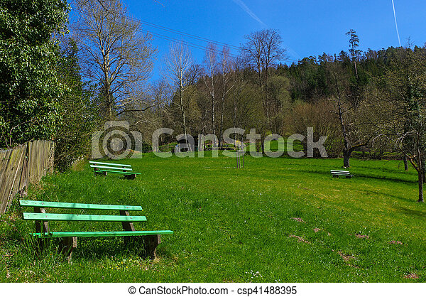 Wooden green bench under trees in the park - csp41488395