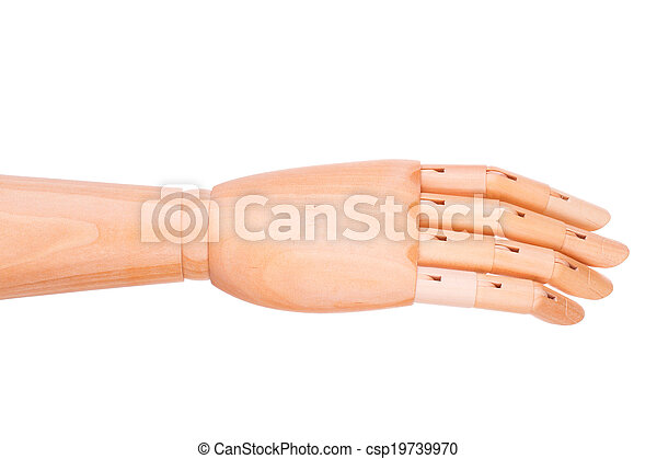 Wooden hand on a white background - csp19739970