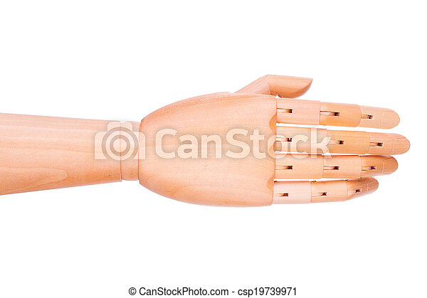 Wooden hand on a white background - csp19739971