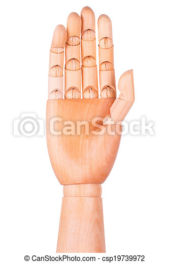 Wooden hand on a white background - csp19739972