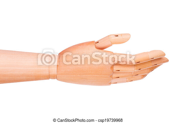 Wooden hand on a white background - csp19739968