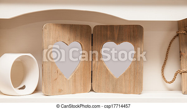 Wooden Heart Frame On Shelf