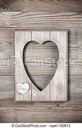 Wooden Heart Shape Frame Empty Vintage Wooden Heart Shape Photo