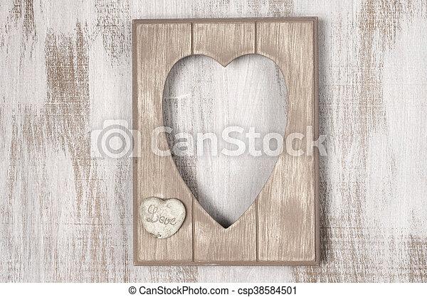 Wooden heart shape frame. Empty vintage wooden heart shape... stock ...