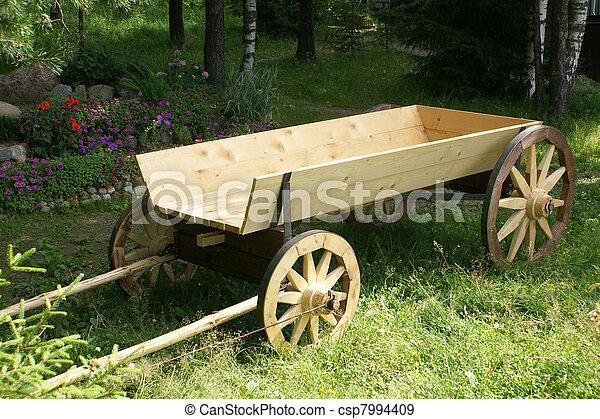 Wooden horse cart - csp7994409