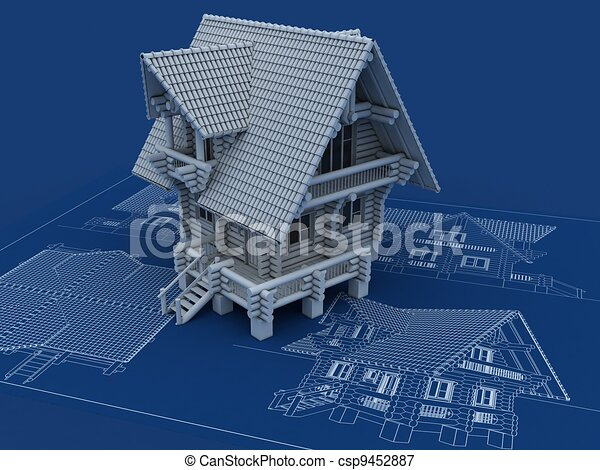 Wooden house blueprint 3d illustration wooden house blueprint csp9452887 malvernweather Gallery