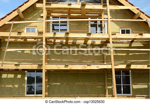 wooden house exterior thermal insulation with mineral rockwool  - csp13025630