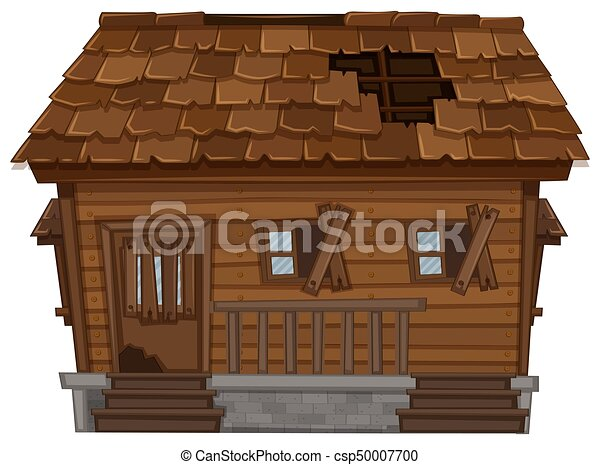 poor house clipart. vector wooden house in poor condition clipart o