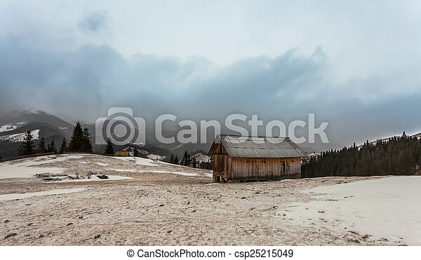 wooden house in winter forest - csp25215049