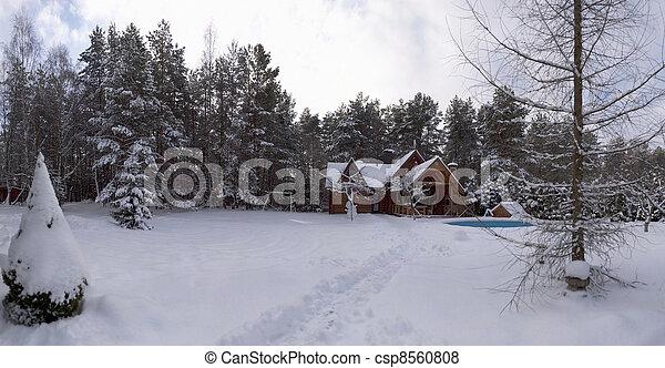 wooden house in winter - csp8560808