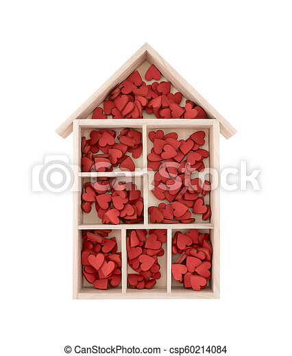 Wooden house with many red hearts isolated on white background - csp60214084
