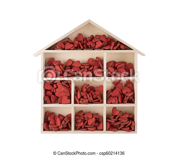 Wooden house with many red hearts isolated on white background - csp60214136