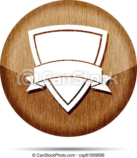 wooden icon of shield with vector ribbon on a white  background - csp81909696