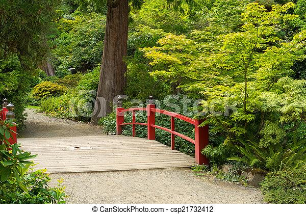 Wooden Japanese Foot Bridge - csp21732412