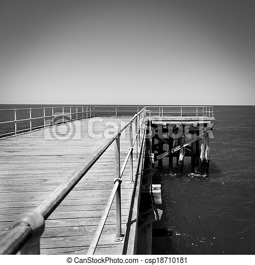 Wooden Jetty Black and White - csp18710181