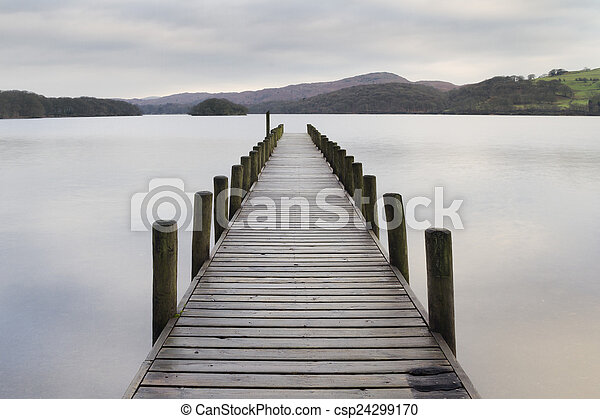 Wooden jetty in the lake district - csp24299170