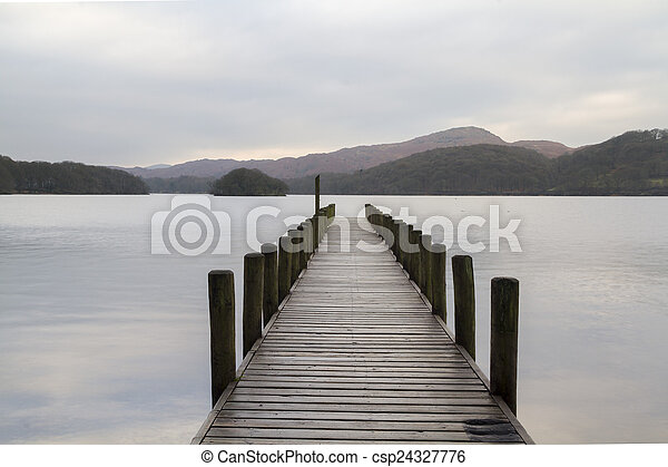 Wooden jetty in the lake district - csp24327776