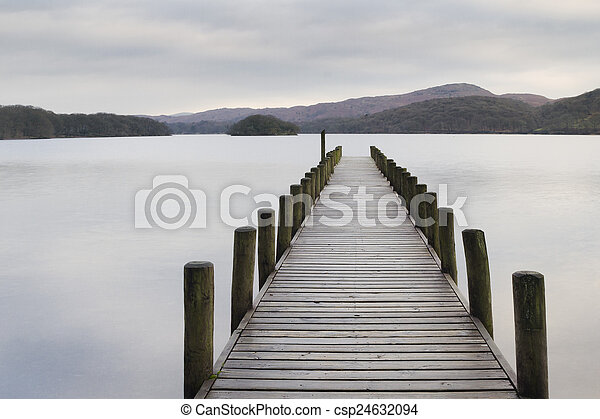 Wooden jetty in the lake district - csp24632094