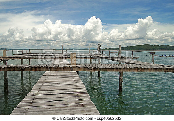 wooden jetty in the sea - csp40562532