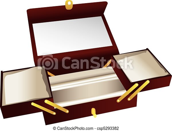 Illustrated wooden jewelry box opened to show different vector