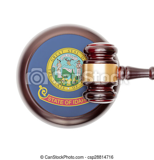 Wooden judge gavel and car keys over sound box - view from top - csp28814716
