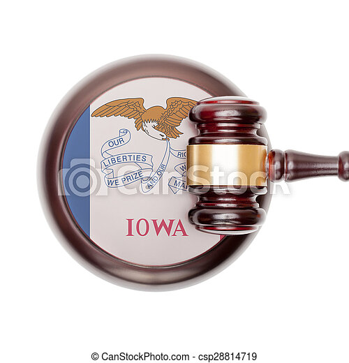 Wooden judge gavel and car keys over sound box - view from top - csp28814719