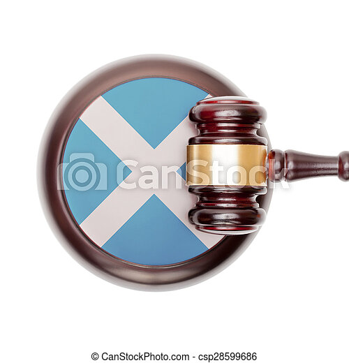 Wooden judge gavel and car keys over sound box - view from top - csp28599686