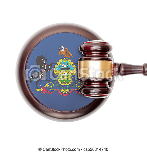 Wooden judge gavel and car keys over sound box - view from top - csp28814748