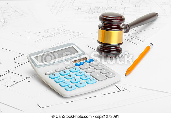 Wooden judge gavel with calculator and pencil over stock wooden judge gavel with calculator and pencil over construction blueprint studio shoot stock photo malvernweather Image collections