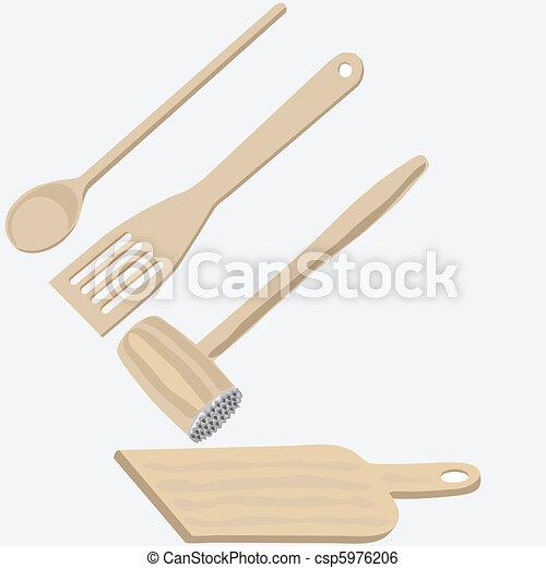 Wooden kitchen utensils - csp5976206