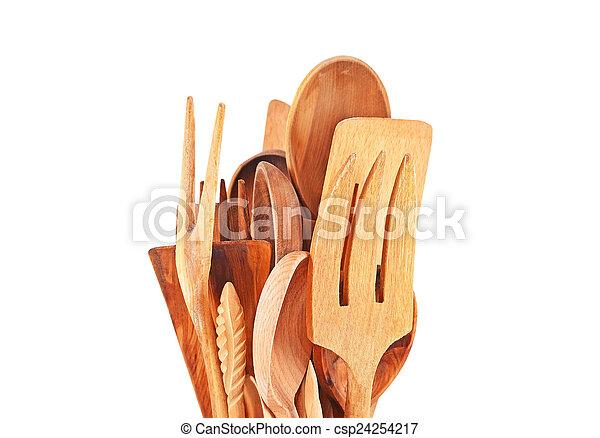 Wooden kitchen utensils  - csp24254217