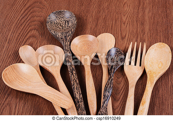 wooden kitchen utensils - csp16910249