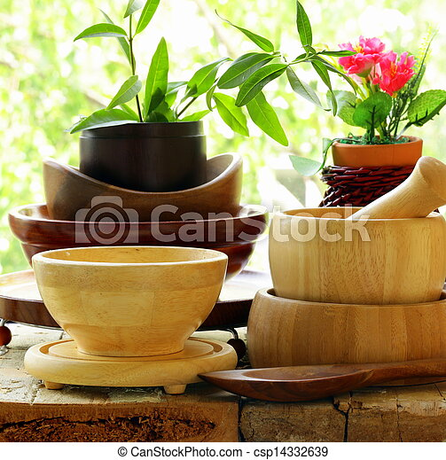 Wooden kitchen utensils  - csp14332639