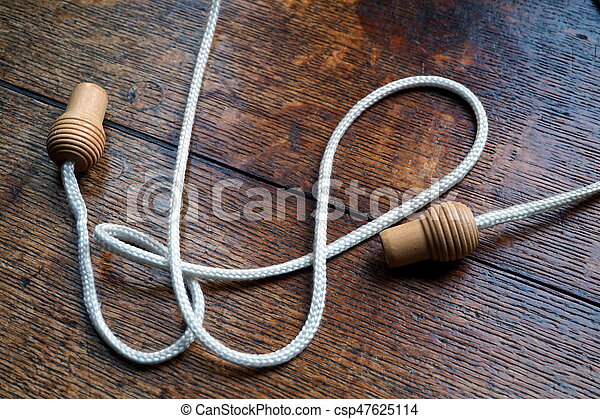 Wooden Knobs Or Handles On A Curtain Pull Cord