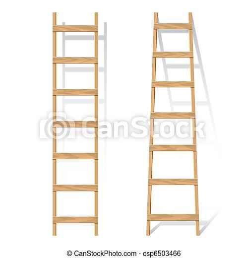 Vector Illustration Of A Wooden Ladder Clip Art