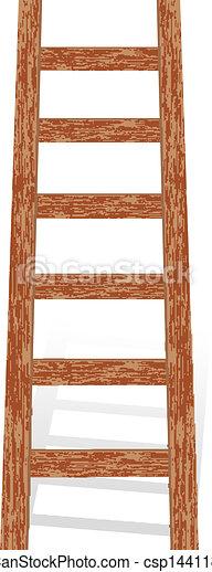 Vector Illustration Of Wooden Ladder Clipart
