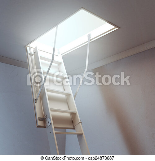 wooden ladder to the attic - csp24873687