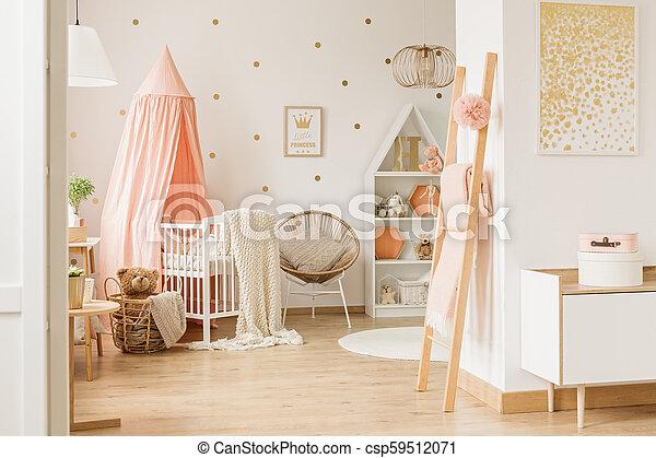 Wooden ladder with blanket - csp59512071