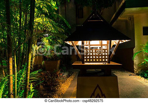 wooden lamp vintage style - csp48292575