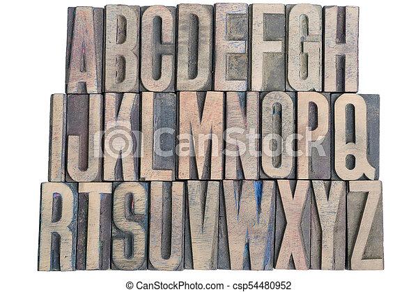 wooden letterpress alphabet - csp54480952