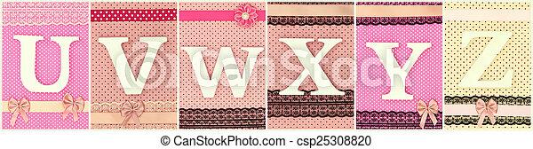 Wooden letters U V W X Y Z on polka dots background - csp25308820