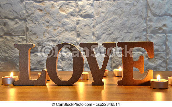 wooden letters with word love - csp22846514
