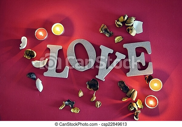 wooden letters with word love - csp22849613
