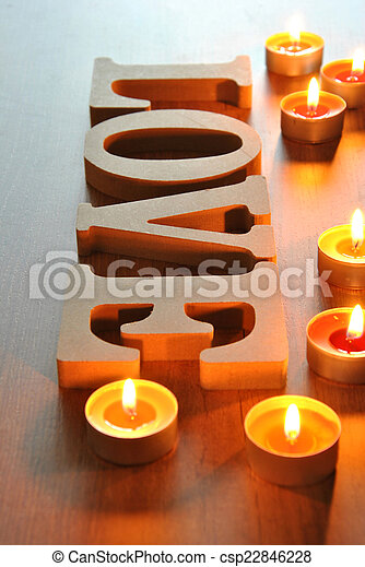 wooden letters with word love - csp22846228