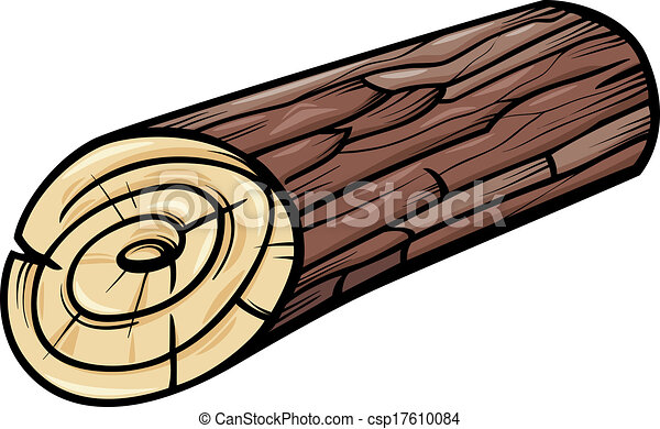 wooden log or stump cartoon clip art - csp17610084