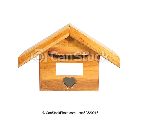 Wooden Mailbox isolated on white background - csp52820215
