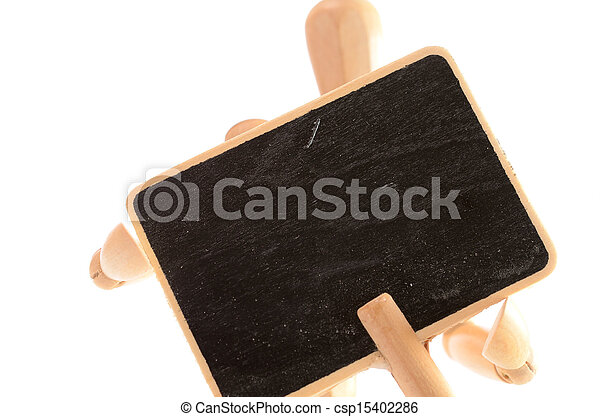 Wooden man with a blackboard - csp15402286